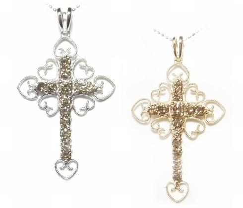 【1個復活】アンティーク調の気品ある十字架豪華計1.20ctブラウンダイヤクロスペンダントトップ