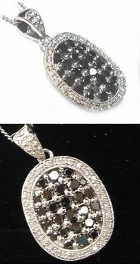 【予約】【ジュエリーベストドレッサー】モデルオーバル取り巻き計1.00ctブラックダイヤ&ダイヤペンダントトップ
