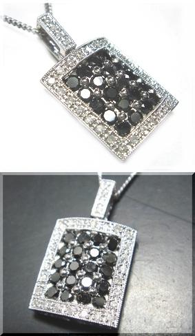 【予約】【ジュエリーベストドレッサー】モデルカク取り巻き計1.00ctブラックダイヤ&ダイヤペンダントトップ