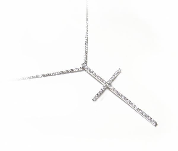 【予約】超セレブロングタイトな十字架!クロス計1.00ctダイヤモンドペンダントトップ