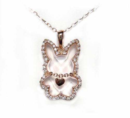 【予約/保留】Newヒーリングキュートウサギ!取り巻きダイヤ約3.00ctローズクォーツネックレス