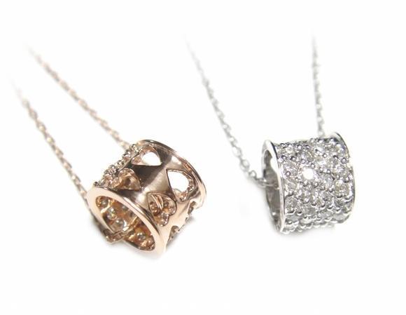 【予約】【おねだりジュエリー】可愛いハートくり抜きリング型!パヴェ計030ctダイヤモンドネックレス