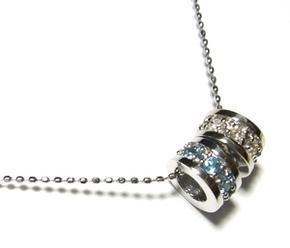 【予約】エタニティーリングが2個!計0.25ctダイヤ&ブルートパーズネックレス【送料無料】