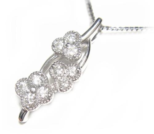 【予約】【ミル打ち】フラワーモチーフ10石計0.28ctダイヤモンドネックレス
