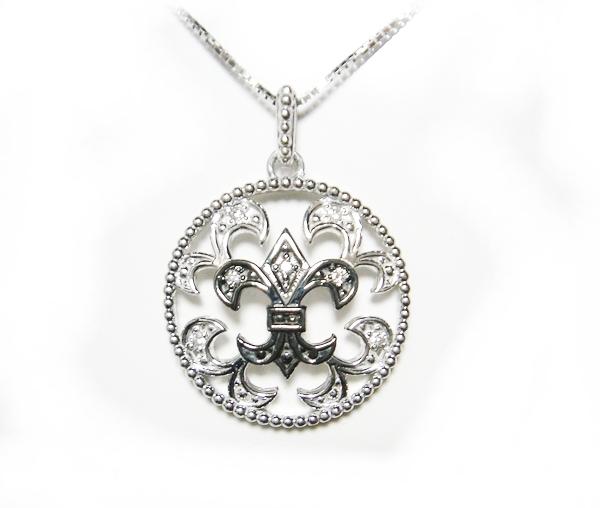 【ミル打ち風】メンズ系ユリの紋章計0.05ctダイヤモンドネックレス