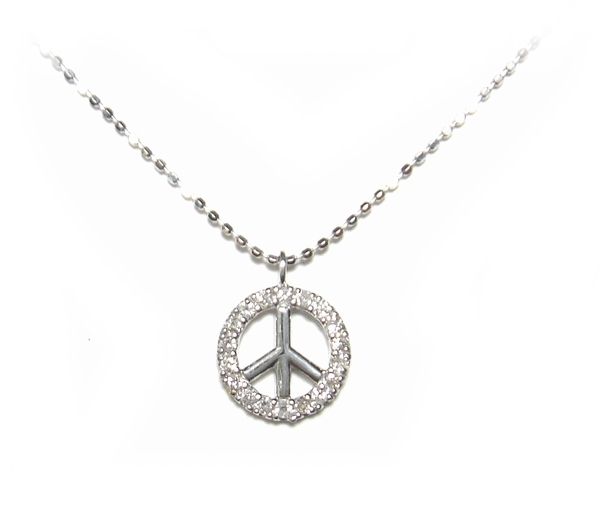 【予約】メンズとしてもオススメ!平和ピースマーク♪計0.14ctダイヤモンドネックレス
