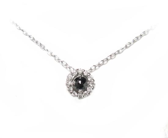 【予約】【スーパーローズカット】小さくても存在感ある取り巻き計0.17ctブラックダイヤネックレス