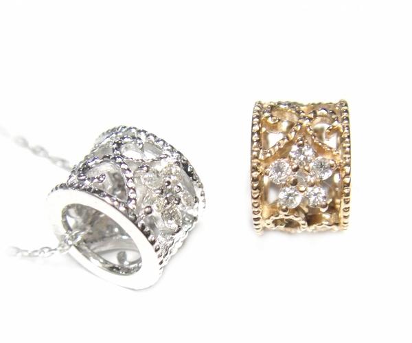 【予約】【おねだりジュエリー】ミル打ちフラワーリング型計0.12ctダイヤモンドネックレス
