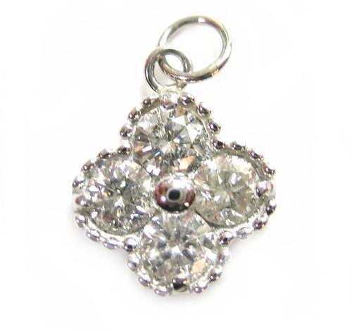 【予約】【2種】【フラワーキュート】幸せの四葉のクローバー♪Pt計0.50ctダイヤモンドペンダントトップ
