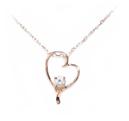 【3種】【オススメ】オリジナルで力作を低価格で!プレゼントにもオススメ!オープンハート0.10ctダイヤモンドネックレス