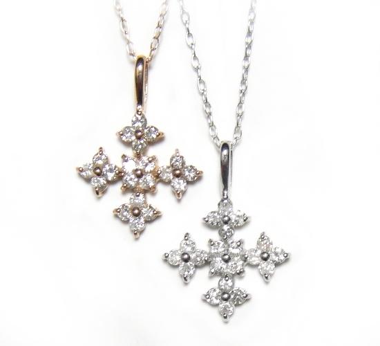 【特価】20石の超キラキラ輝くクロス計0.30ctダイヤモンドネックレス
