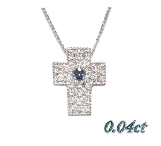 欲張りプチクロス1石0.04ctアレキサンドライト&ダイヤモンドネックレス
