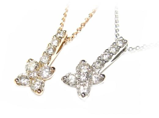 【在庫特価】【おねだりジュエリー】結構な存在感!K18PGとPt花型計0.50ctダイヤモンドネックレス