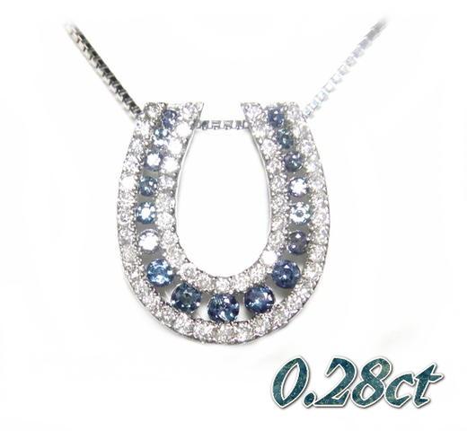 【予約】グラデーションレールタイプ馬蹄Pt0.28ctUPアレキサンドライト&ダイヤモンドネックレス