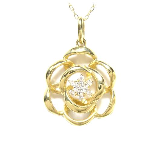 【予約】存在感ある立体薔薇計0.15ダイヤモンドネックレス【バラ,ばら,ローズ】