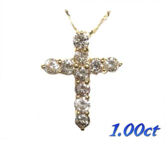 【限定】十字架10石K18YG計1.00ctファンシーダイヤモンドクロスネックレス【R】【イエローゴールド】