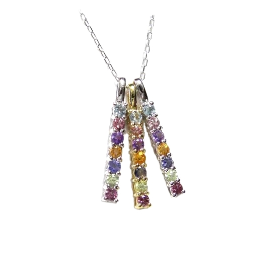 An affordable price! Bright rainbow color amulet ♪ 0.20ct rainbow  multi-stone pendant top to glitter in total 8f28a88d5d0ae