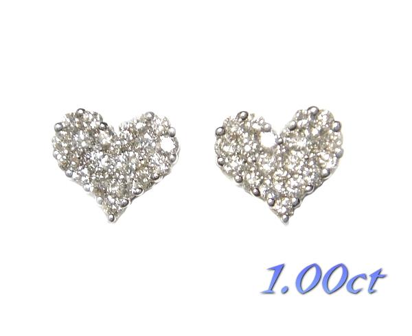 【予約】【ランキング6位】豪華パヴェハート型計1.00ctダイヤモンドピアス【デイリー,ピアス-ホワイトゴールド】