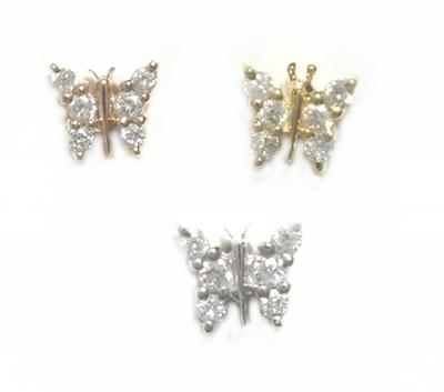 【3種から選べるピアス】小さい蝶が可愛い♪計0.14ctダイヤモンドピアス