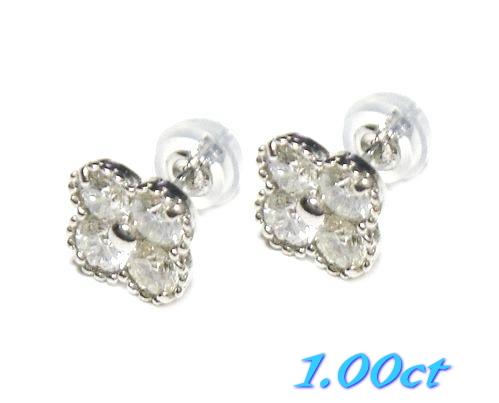 【予約】【フラワーキュート】幸せの四葉のクローバー♪Pt計1.00ctダイヤモンドピアス