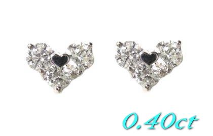 【限定】スリーストーンハート枠Pt計0.40ctダイヤモンドスタッドピアス【送料無料】