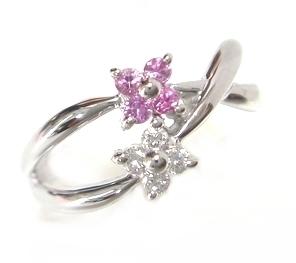 【予約】絡み合う可愛い花ピンキーNew計0.06ctピンクサファイア&ダイヤドリング