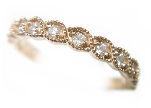 【予約】【ミル打ち】【ハーフエタニティー】美しいスパイラル計0.20tダイヤモンドピンクゴールドリング
