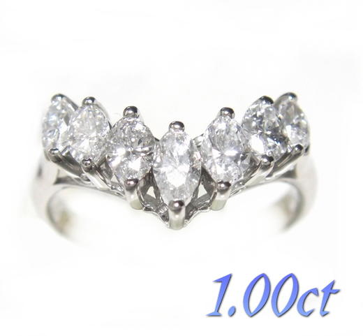 【限定1個】マーキスカット7石Pt計1.00ctダイヤモンドリング