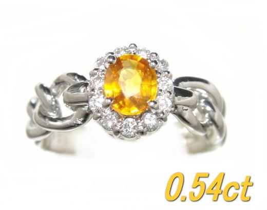 【限定】希少な天然コランダム&デザイン取り巻きPt0.54ctゴールデンサファイア&ダイヤモンドリング