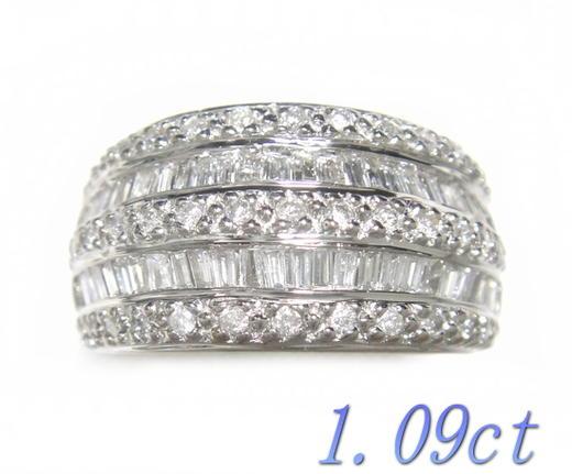 【限定】幅たっぷりのボリュームゴージャス計1.09ctダイヤモンドリング