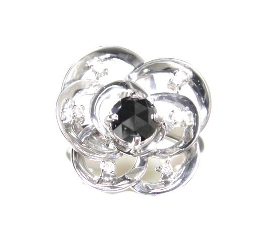 【限定】【ローズカット】立体フラワー♪計0.70ctブラックダイヤモンド&ダイヤリング