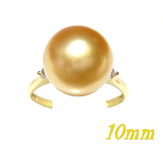 【限定2種】茶金系10mmUP幅!南洋白蝶真珠ゴールド計0.07ctUPダイヤ&パールリング【黄金の真珠,SP50】