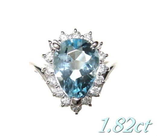 【限定】気品あるペアシェイプ取り巻きPt1.82ctアクアマリン&ダイヤリング