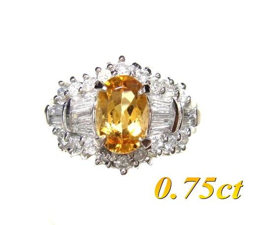 【限定】オレンジ&イエローカラーオーバルPt0.75ctインペリアルトパーズ&ダイヤモンドリング