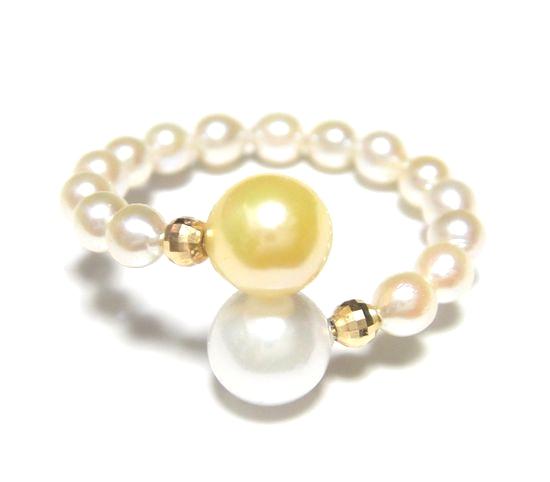 【限定】ホワイト&ゴールドツートン!アコヤ真珠フリーサイズ約3-6mmパールリング【ベビーパール,あこや真珠,和珠,本真珠】【ポイアプ】
