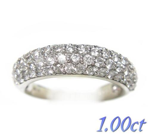 【予約】丸みがあるやさしいライン5.1mm幅パヴェ計1.00ctダイヤモンドリング
