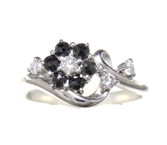 【予約】【ローズカット】おすすめフラワー♪計0.28ctブラックダイヤモンド&ダイヤリング