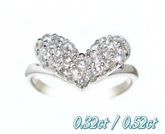 【予約】【2種】人気のハートのオールホワイトパヴェで登場!キュートハート計0.32ct/0.52ctダイヤモンドリング