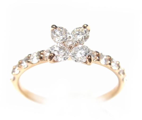 【予約】【おねだりジュエリー】結構な存在感!花型計0.67ctダイヤモンドピンクゴールドリング
