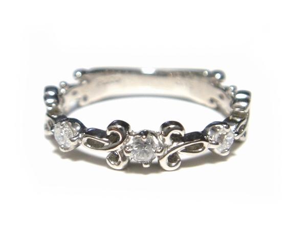 【予約】【人気】【ハーフエタニティー】【アンティーク調】細かなディティール計0.15ctダイヤモンドリング