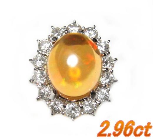 【2020年特価】【鑑別書付き】最高の浮遊効果!豪華取り巻きPt2.96ctメキシコオパール&ダイヤリング