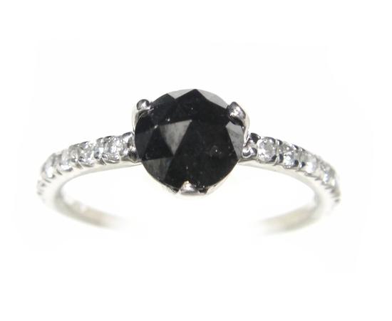 【在庫特価】【ローズカット】ハーフエタニティー計1.00ctUPブラックダイヤ&ダイヤリング