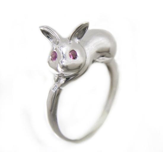 【予約】【ランキング1位】New選べる可愛すぎる地金ミニウサギ!目にはピンクサファイアリング【デイリー,リング-ホワイトゴールド】