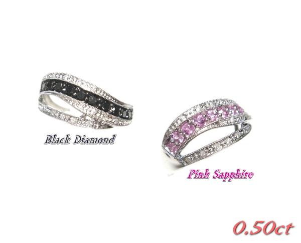 【予約】ウェーブ計0.50ctブラックダイヤ&ダイヤリング【ピンクサファイア】