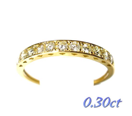 【数量限定5個】お買い得計算された一文字K18YG計0.30ctダイヤモンドリング