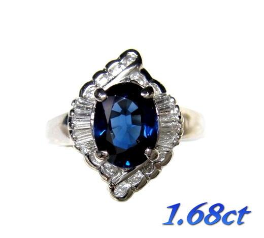 【限定特価】オーバル取り巻きPt1.68ctブルーサファイア&ダイヤリング