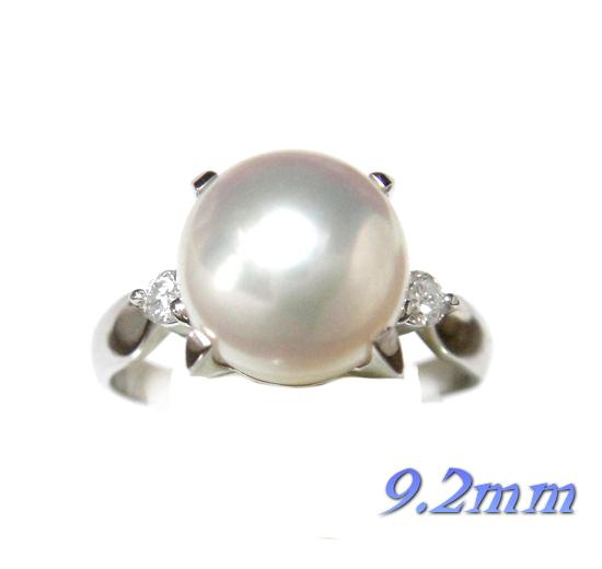 【限定】9.2mm幅!アコヤ本真珠取り巻きPt計0.13ctダイヤ&パールリング【あこや真珠,和珠,本真珠】
