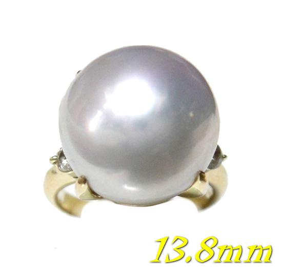 【目限定】照りある存在感超大粒13.8mmUP!K18YG南洋真珠ホワイトパール&ダイヤリング【白蝶貝】