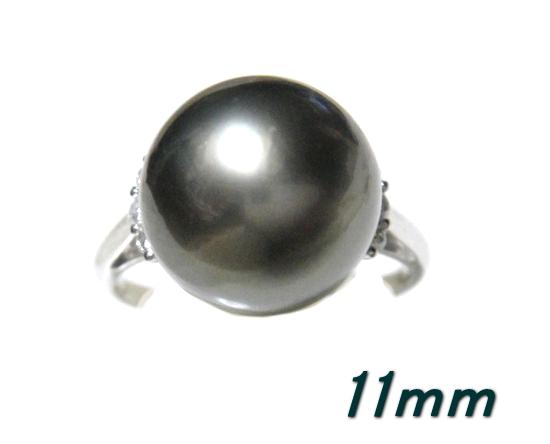 【限定】黒蝶真珠大きい11mmUP幅!タヒチPt計0.10ctダイヤ&ブラックパールリング