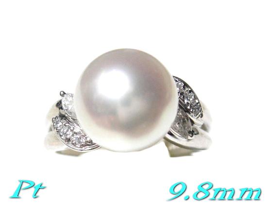 【限定】花珠級で超大珠9.8mmUP幅!アコヤ本真珠Pt計0.11ctダイヤ&パールリング【あこや真珠,和珠,本真珠】
